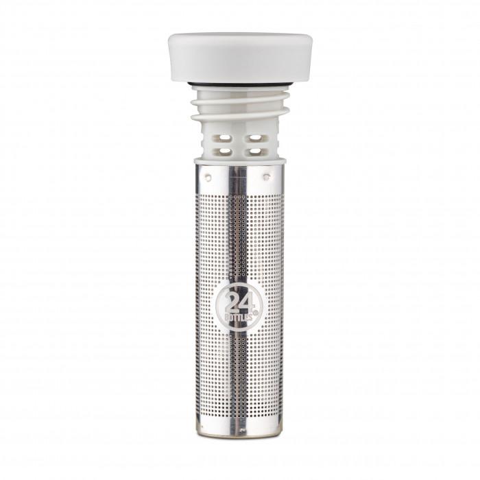 Flaschenverschluss mit Siebeinsatz für Tee, Minze, Zitrusfrüchte, ... : der 24Bottles Infuser Lid grey Trinkverschluss für die Thermosflaschen CLIMA.