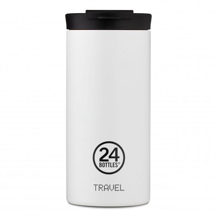24Bottles Travel Tumbler Thermobecher 0,6 l weiß. Design Coffee to go Becher. Isolierbecher, Edelstahlbecher ice white.