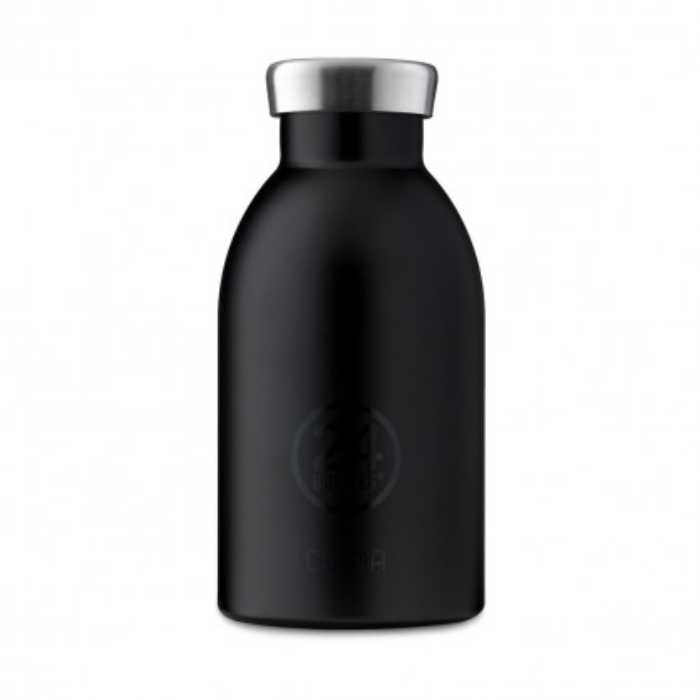 24Bottles Thermosflasche / Isolierflasche 0,33 L CLIMA aus Edelstahl, schwarz - kleine Trinkflasche