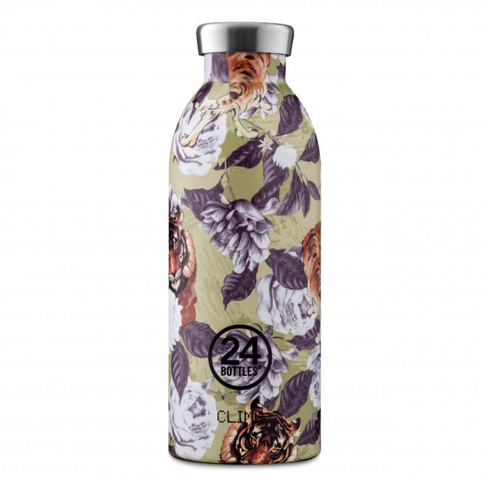 Doppelwandige Thermosflasche CLIMA mit Blumen- und Tigermotiv. Trinkflasche 0,5 l aus Edelstahl > Sonderprint RAJAH > auslaufsicher > + 24 h kalt oder 12 h heiß > BPA-frei