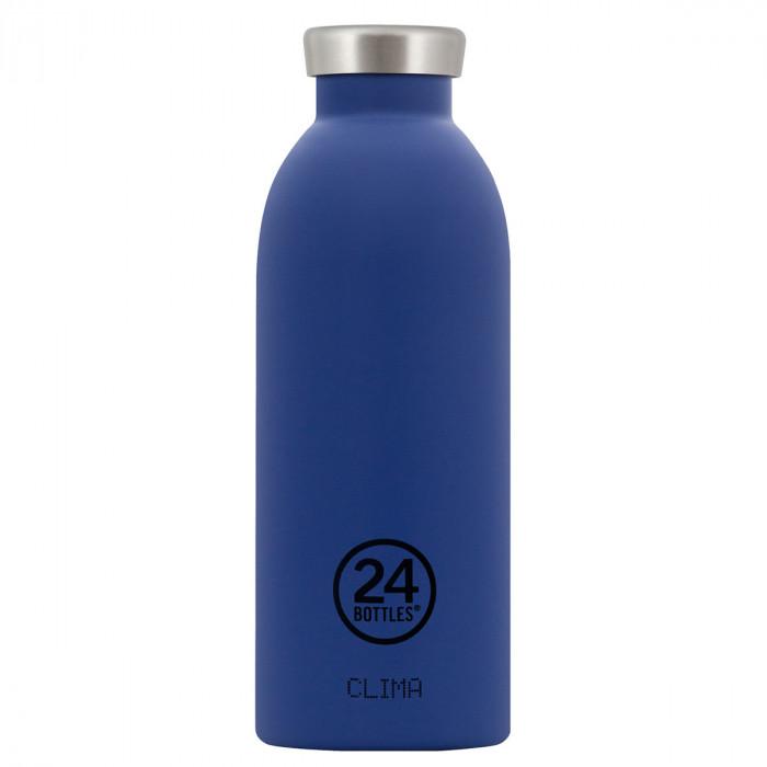 Dunkelblaue Edelstahl Thermosflasche 0,5L CLIMA, gold blue - 24Bottles