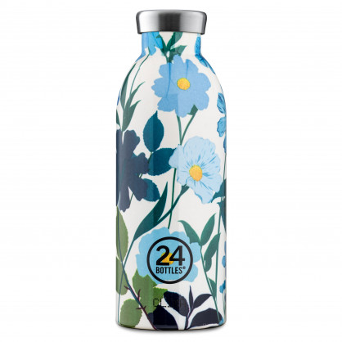 24 Bottles Thermosflasche CLIMA Edelstahl 500 ml mit Blumenmotiv. Doppelwandige Trinkflasche 0,5 l Glory Morning - Design Isolierflasche 24Bottles.