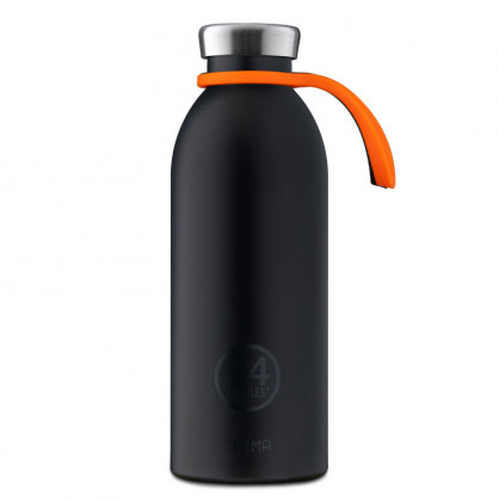 Orange Trageschlaufe aus Silikon für die Edelstahl Trinkflaschen von 24Bottles. Tragehalterung BOTTLE TIE.