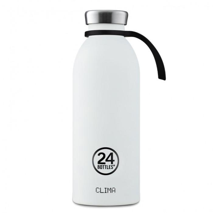 Schwarze Trageschlaufe aus Silikon für die Edelstahl Trinkflaschen von 24Bottles. Tragehalterung BOTTLE TIE black.