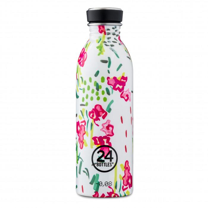 24Bottles Trinkflasche 0,5 l SPRINKLE. BPA-freie Trinkflasche aus Edelstahl mit abstakten, blumigen Sonderprint.