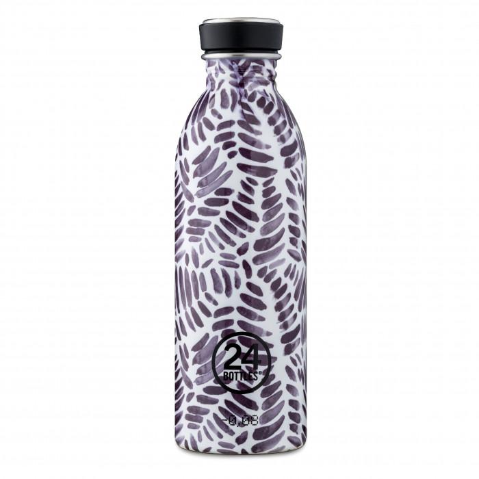 Trinkflasche 24Bottles 500 ml aus Edelstahl mit auslaufsicheren Schraubdeckel und Special Print MEMO (graue Pinselstriche).