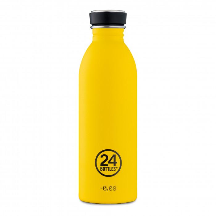 Trinkflasche gelb 0,5 Liter URBAN. Design Edelstahlflasche von 24Bottles in matt gelb - stone taxi yellow.