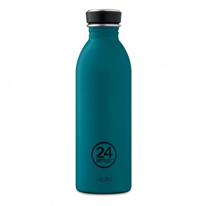 24Bottles Design Trinkflasche 0,5L URBAN aus Edelstahl, petrol - stone atlantic bay - Frontalansicht