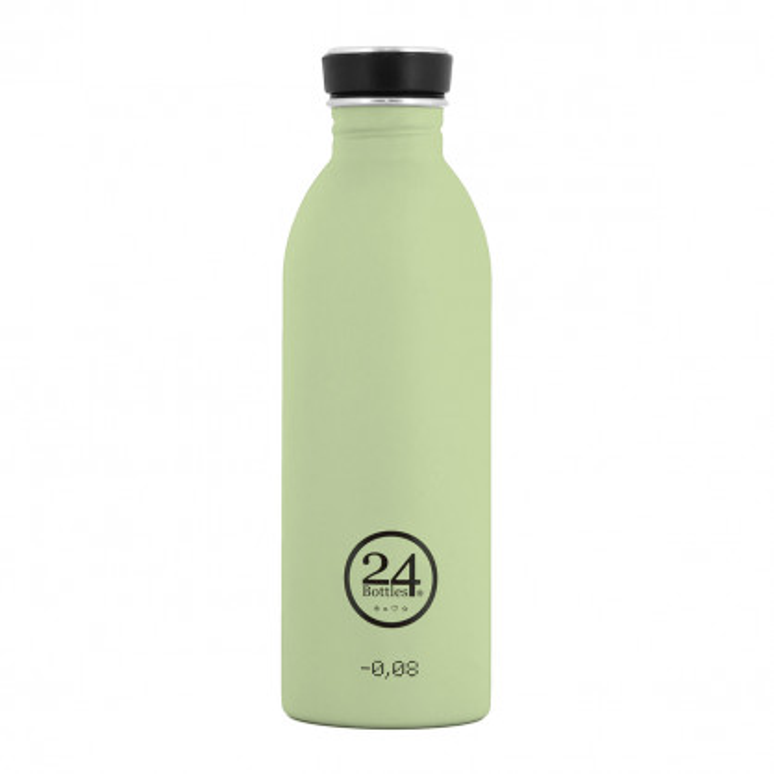 Trinkflasche aus Edelstahl von 24Bottles - Deckel schwarz - Modell pistachio green.