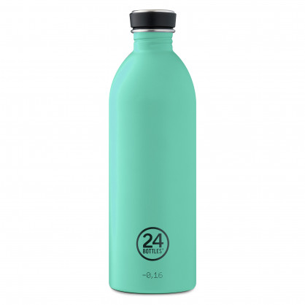Trinkflasche Edelstahl 1 l URBAN, mint - Edelstahltrinkflasche von 24Bottles - auslaufsicher, BPA-frei, recycelbar ...