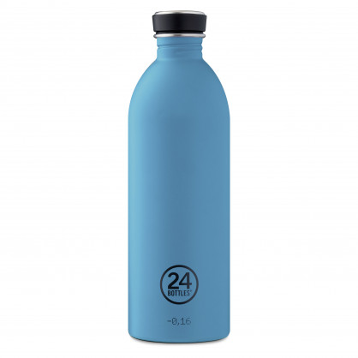 24Bottles Trinkflasche URBAN powder blue. Edelstahlflasche pastell blau 1 Liter. 24Bottles 1 Liter Flasche. BPA-frei, recycelbar ...