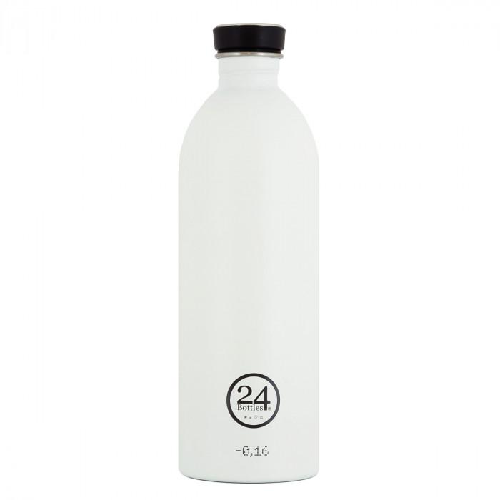1 Liter Trinkflasche aus Edelstahl in weiß von 24Bottles.