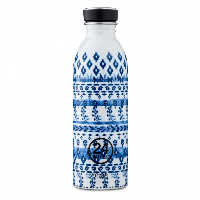 24Bottles Trinkflasche 0,5 l URBAN aus Edelstahl - Special Modell INDIGO, mit Schraubdeckel & BPA-frei - Sonderedition - Edelstahlflasche