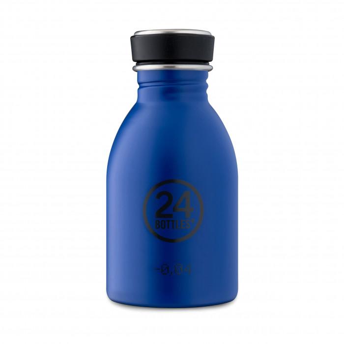 Kleine 24Bottles Edelstahl Trinkflasche 0,25 l dunkelblau. Trinkflasche gold blue. Flasche für Kinder und Erwachsene.