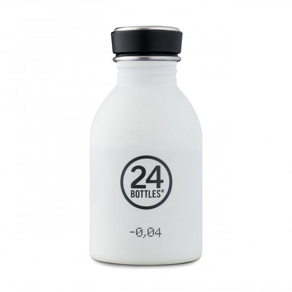 Kleine, weiße Edelstahltrinkflasche mit 250 ml Füllvolumen. Modell: Trinkflasche URBAN ice white 0,25 Liter. Auslaufsicher, robust, BPA-frei ...