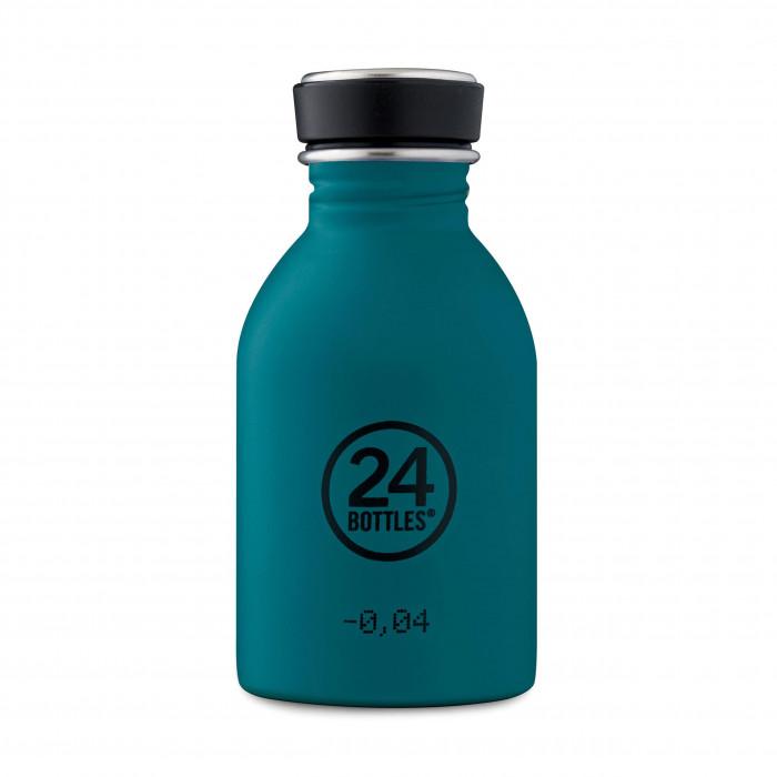 Trinkflasche URBAN 0,25 l Edelstahl. Kleine 24Bottles Trinkflasche für Kinder und Erwachsene. Türkise Trinkflasche Edelstahl stone atlantic bay.