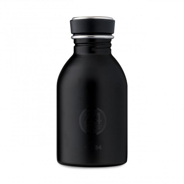 Kleine Trinkflasche Edelstahl 0,25 l von 24Bottles. Schwarze Design Edelstahlflasche tuxedo black - Kindertrinkflasche - BPA-frei, auslaufsicher, ...