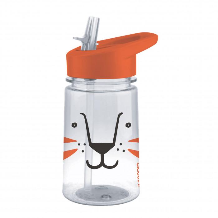 Trinkflasche für Kleinkinder: aladdin präsentiert die leichte Kindertrinkflasche lion mit Flip-Zip Deckel aus Tritan Kunststoff (BPA-frei). Mit nettem Löwen-Print.