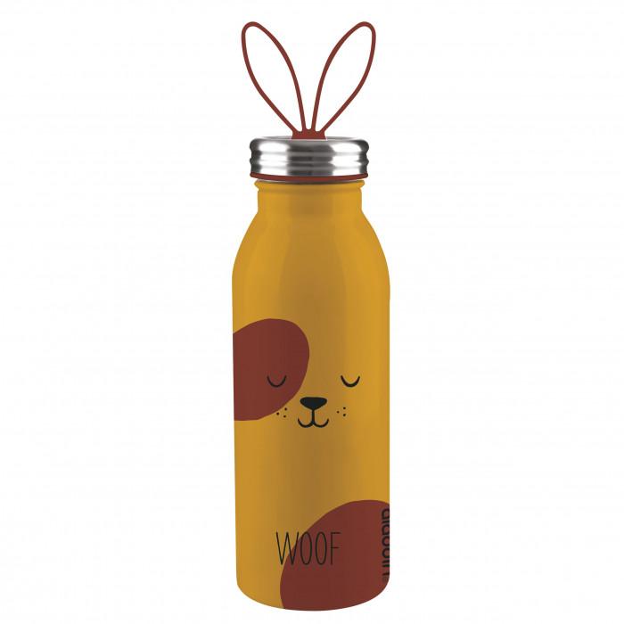 Doppelwandige Thermosflasche DOG aus Edelstahl mit Ohren-Tragegriff von aladdin Design. Aus der Trinkflaschen-Serie ZOO.