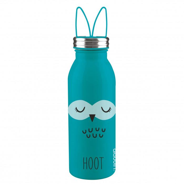Doppelwandige, türkisblaue Thermosflasche OWL (Eule) aus Edelstahl mit Silikonohren von aladdin Design. Aus der Trinkflaschen-Serie ZOO.