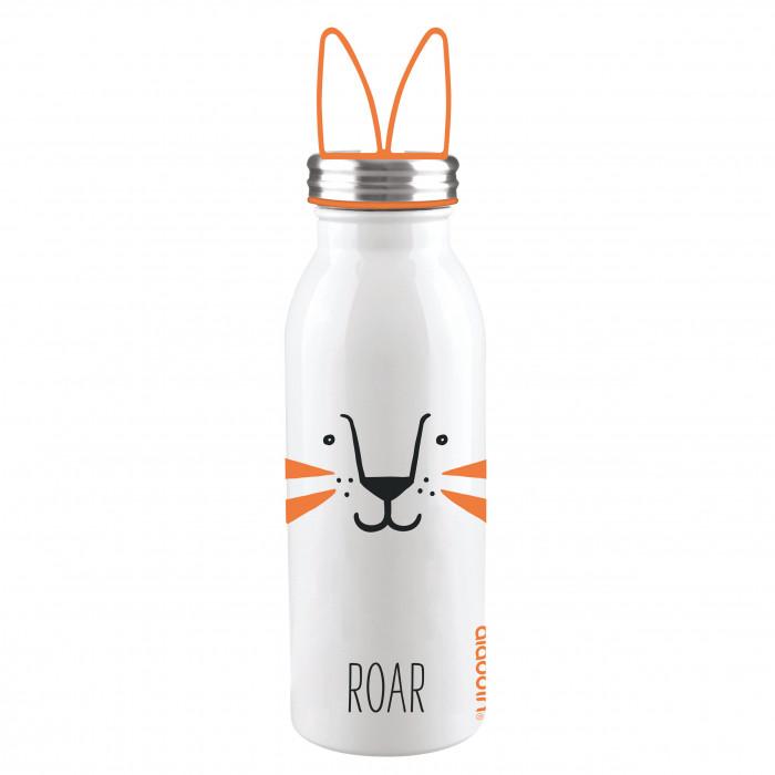Doppelwandige Thermosflasche TIGER aus Edelstahl mit Ohren-Tragegriff von aladdin Design. Aus der Trinkflaschen-Serie ZOO.