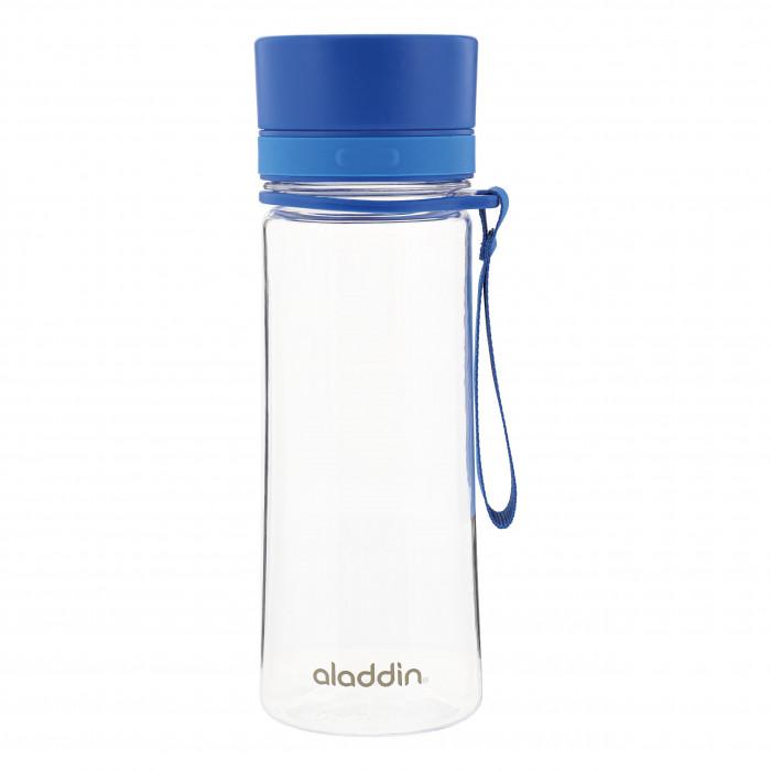 Trinkflasche 0,35 Liter von aladdin. Modell AVEO WATER BOTTLE. Aus transparenten Tritan Kunststoff mit blauem Verschluss und Tragegriff.