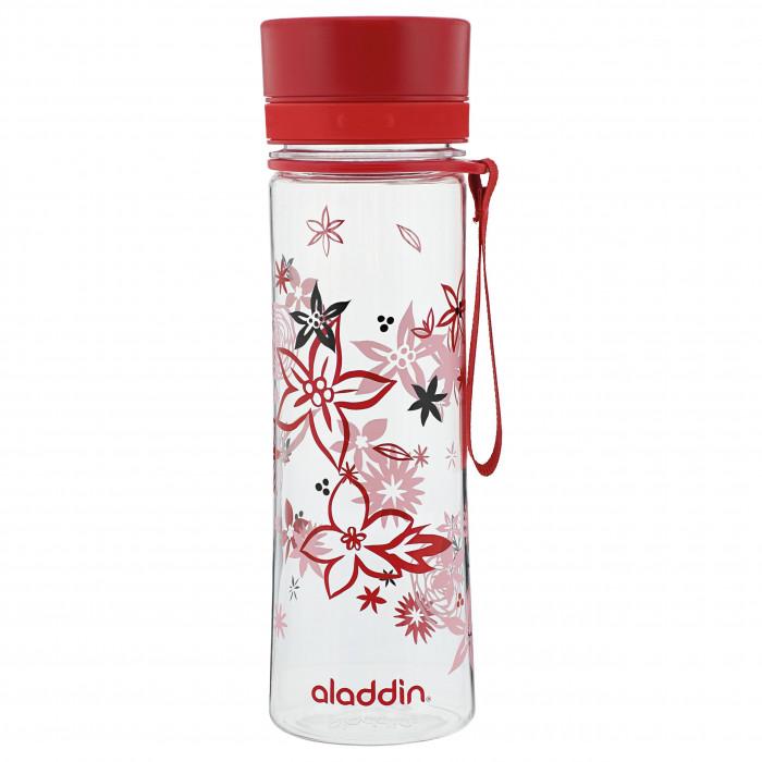 Leichte, robuste Trinkflasche AVEO mit 0,6 l und rotem Blumen Muster. Aus BPA-freiem Tritan Kunststoff. Mit Schnelltrinkverschluss. Auslaufsicher ...