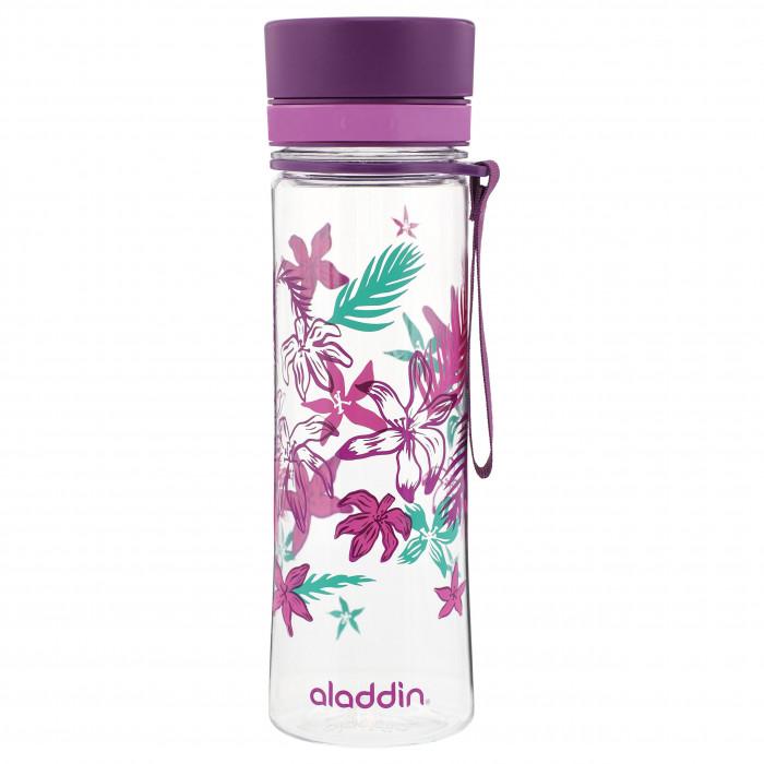 Trinkflasche AVEO mit 0,6 l und violettem Blumenprint. BPA-freies Tritan Kunststoff, Schnelltrinkverschluss, auslaufsicher ...