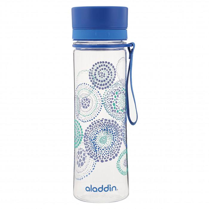 Leichte, robuste Trinkflasche AVEO mit 0,6 l und blauen Kreis Muster. Aus BPA-freiem Tritan Kunststoff. Mit Schnelltrinkverschluss. Auslaufsicher ...
