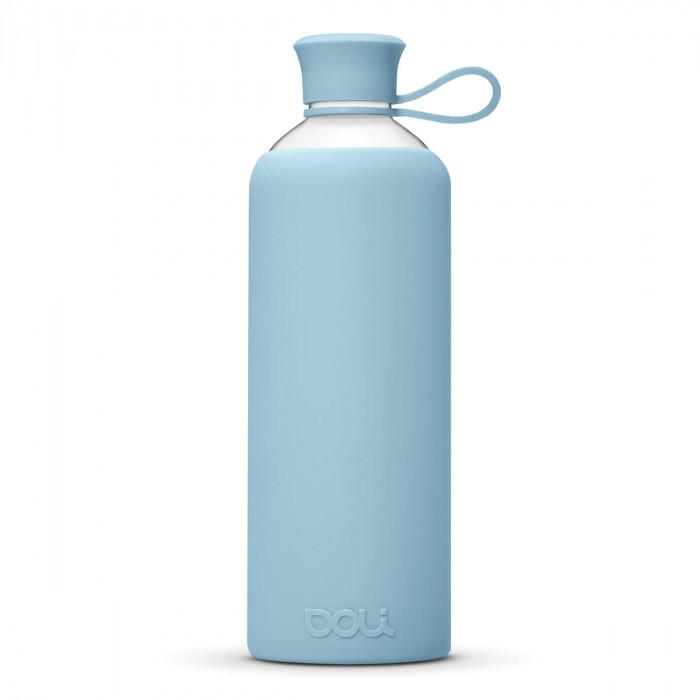 DOLI Design Trinkflasche aus Glas - hellblau