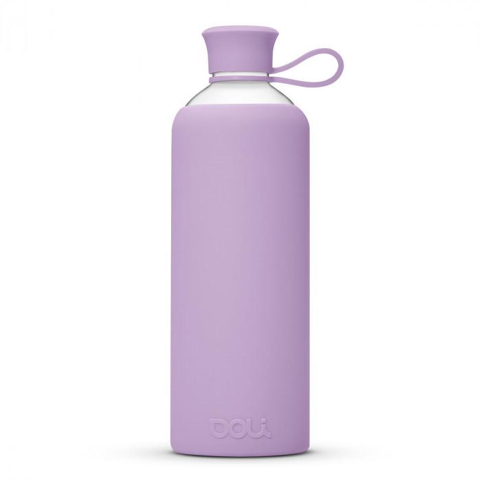 Design Trinkflasche Glas 0,55l Violett - Glasflasche Borosilikatglas - BPA frei - DOLI