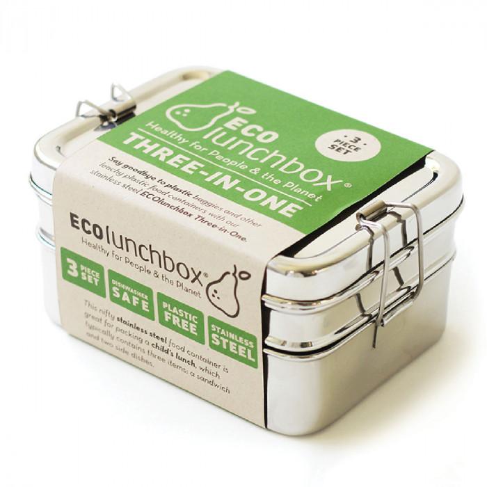 3-teilige Brotdose aus Edelstahl mit Klippveschluss von ECOlunchbox.