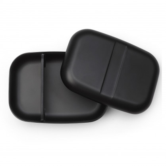 Schwarze Bento Lunchbox BIOBU GO von EKOBO Design im rechteckigen Format mit weichen Kanten.