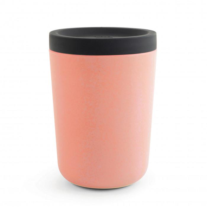Coffee to go Becher 350 ml von EKOBO. Kaffeebecher aus nachhaltigem Kunststoff - Kaffee Mehrwegbecher in coral orange.