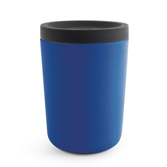 EKOBO to go Coffee Becher dunkelblau. Kaffeebecher aus Melamin + Bambusfasern mit Silikondeckel. Reusable Cup royal blue. Umweltfreundlicher Mehrwegbecher Takeaway.