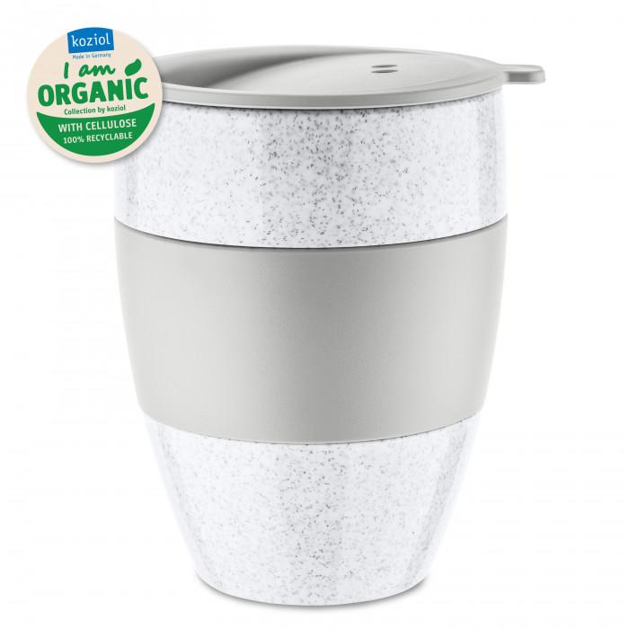 Coffee to go Becher 400 ml von Koziol. Kaffeebecher AROMA TO GO ORGANIC 2.0 hellgrau aus nachhaltigem Kunststoff.