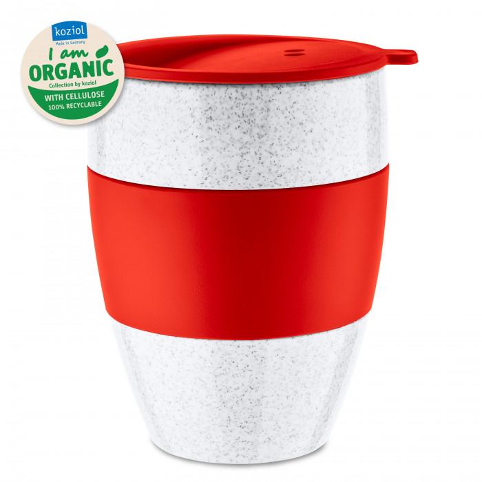 AROMA TO GO ORGANIC 2.0 - roter Coffee to go Becher 400 ml von Koziol. Kaffeebecher rot aus nachhaltigem Kunststoff.