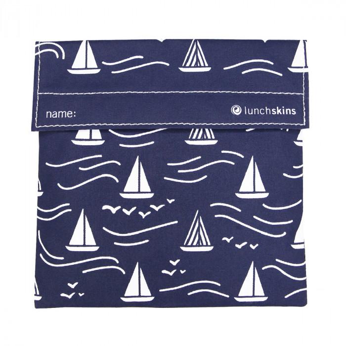 Lunchskins NAVY BOAT, die wiederverwendbare Lunchtüte mit Klettverschluss, Segelboot Print