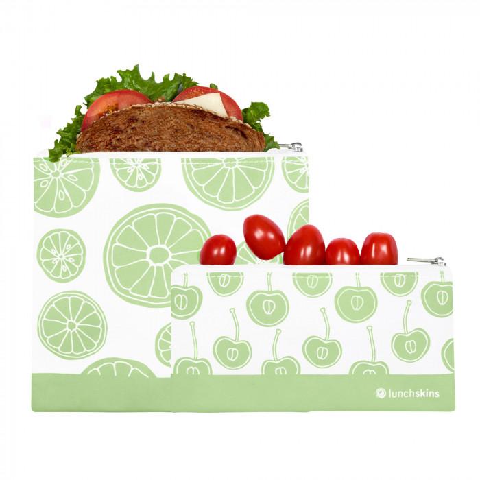 Lunchtüten ZIP mit Reißverschluss von lunchskins. Die wiederverwendbaren Lunchtüten - Modell green fruits. Snacktüte und Sandwichtüte im Set.