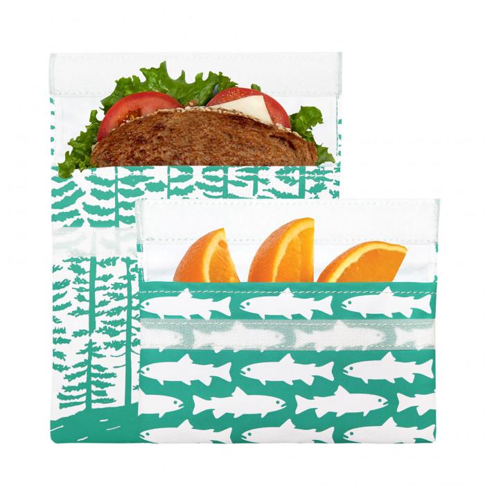 Lunchtüten / Sandwich Bags CALYPSO FOREST mit Klettverschluss, 2er-Set, Wald- und Fischprint - befüllt