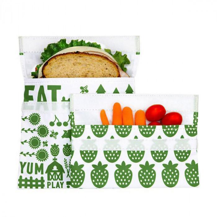 Lunchtüte GREEN FARM von lunchskins. Die wiederverwendbare Brotzeittüte mit Klettverschluss. Ananas und Farm Print