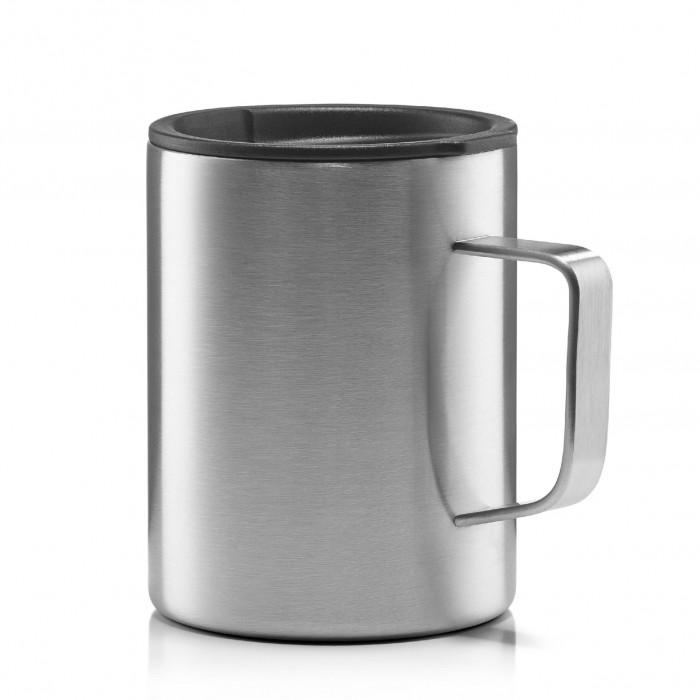 Doppelwandiger Becher aus Edelstahl mit Kaffeedeckel von MIZU Design. Camping Tasse, Isolierbecher stainless, ...