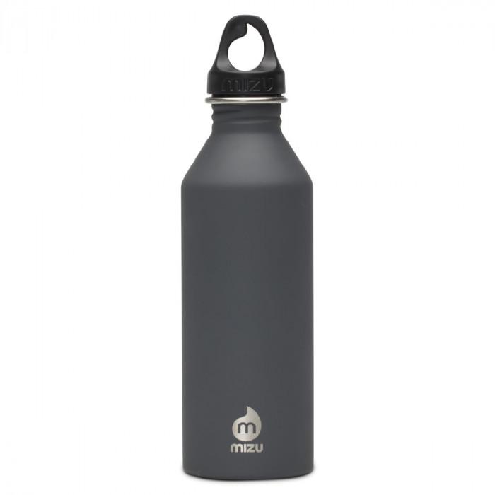Graue Enduro Trinkflasche M8 von MIZU Design mit 750 ml Füllvolumen.