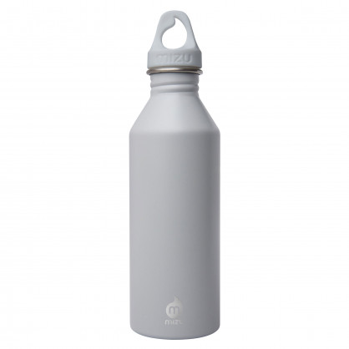 MIZU Trinkflasche M8 aus Edelstahl. Modell Enduro lightgrey (hellgrau) mit 0,75 Liter Volumen - Ansicht: Front.
