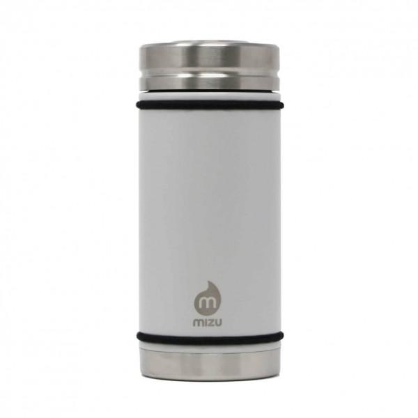 Thermobecher V5 mit 450 ml Füllvolumen von MIZU Design. BPA-freier, auslaufsicherer Thermobecher aus Edelstahl in hellgrau.