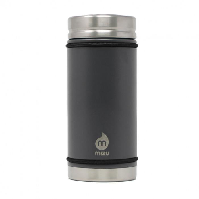 Thermobecher V5 mit 450 ml Füllvolumen von MIZU Design. BPA-freier, auslaufsicherer Thermobecher aus Edelstahl in dunkelgrau.