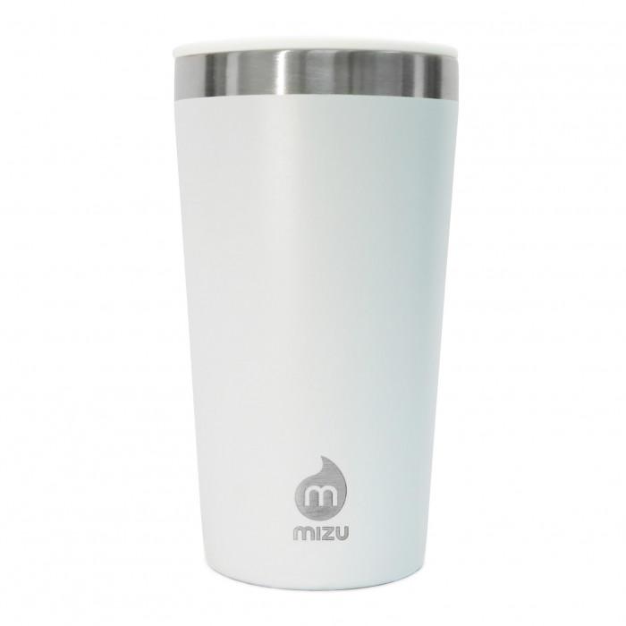 To go Becher T16 weiß von MIZU: doppelwandiger Thermobecher aus Edelstahl in blau für Kaffee, Tee, Säfte und mehr.