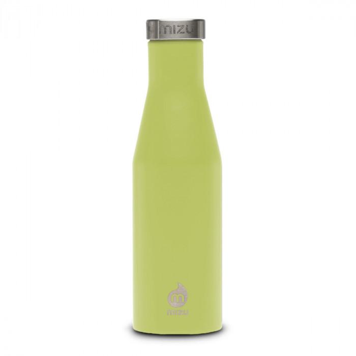 Thermosflasche Slim S4 Edelstahl 415 ml, Enduro lime (hellgrün)- Front.