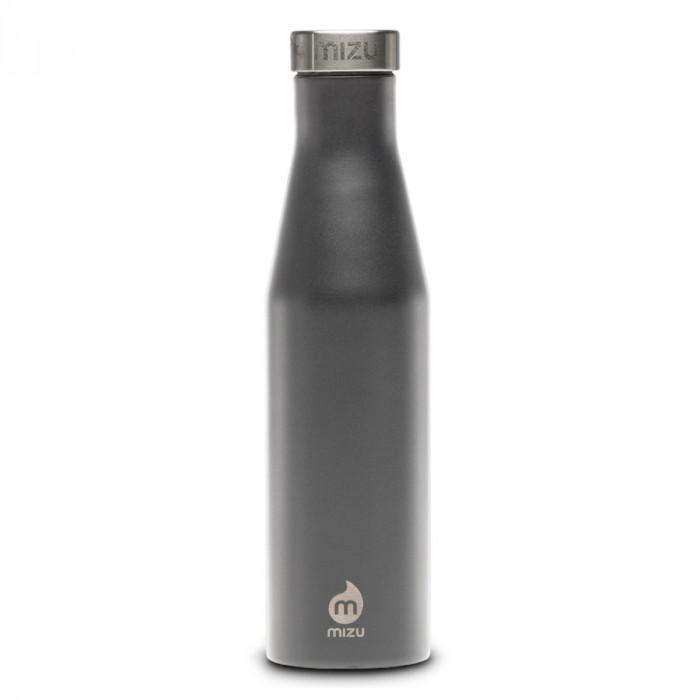 Thermosflasche Slim S6 Edelstahl 600 ml von MIZU, Enduro grau - Trinkflasche Front.