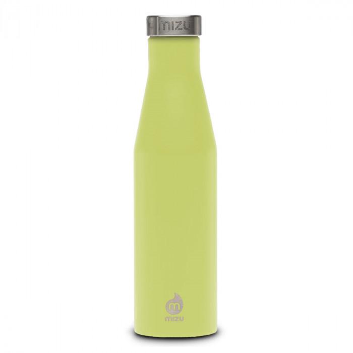 Thermosflasche Slim S6 Edelstahl 600 ml von MIZU, Enduro limegrün - Trinkflasche Front.